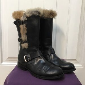 Frye Moto Genuine Rabbit Fur Boots